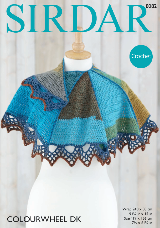 Sirdar 8082 - Crochet Scarf & Wrap in Colourwheel DK Pattern