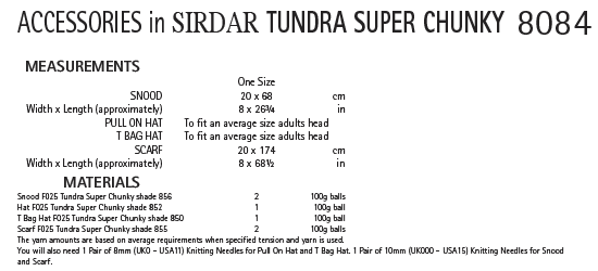 Sirdar 8084 - Ladies Accessories in Sirdar Tundra Super Chunky Pattern