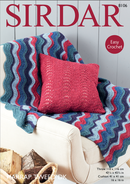 Sirdar 8106 - Crochet Throw & Cushion Cover in Harrap Tweed DK Pattern