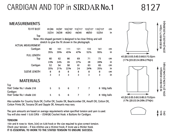 Sirdar 8127 - Ladies Crochet Cardigan & Top in Sirdar No.1 Pattern