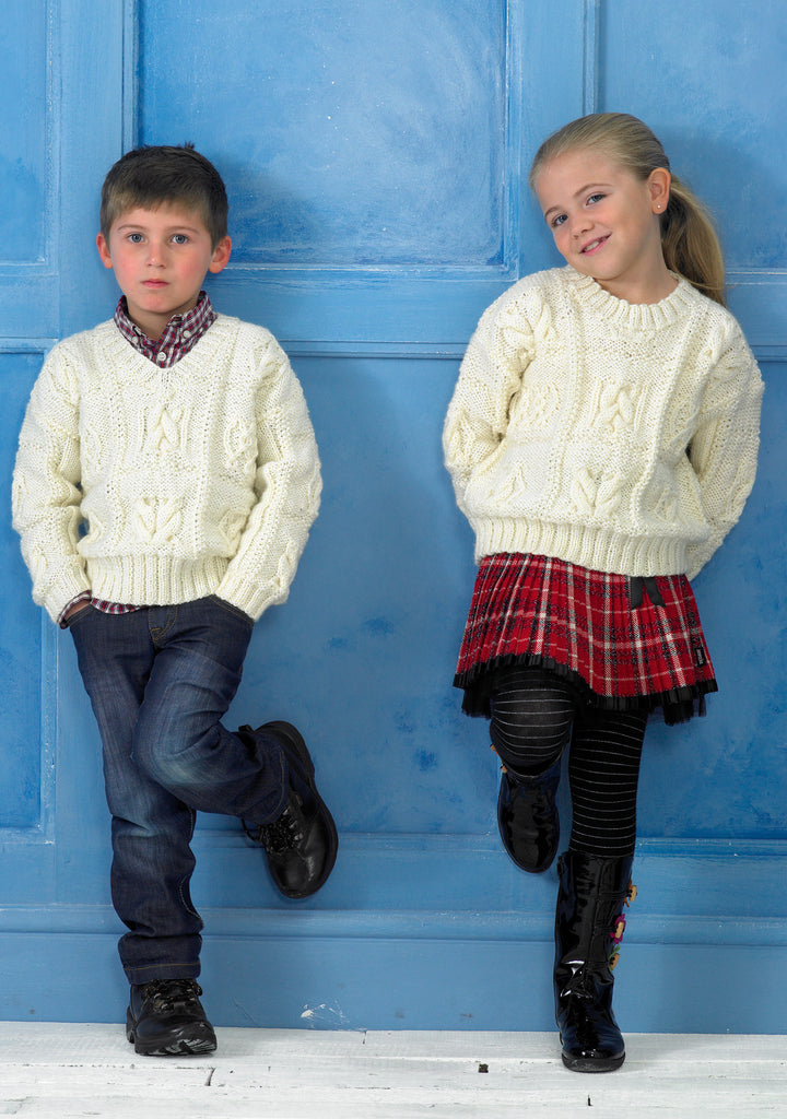 Stylecraft 8714 - Childrens Sweaters in Life Aran Knitting Pattern - The Crafty Knitter