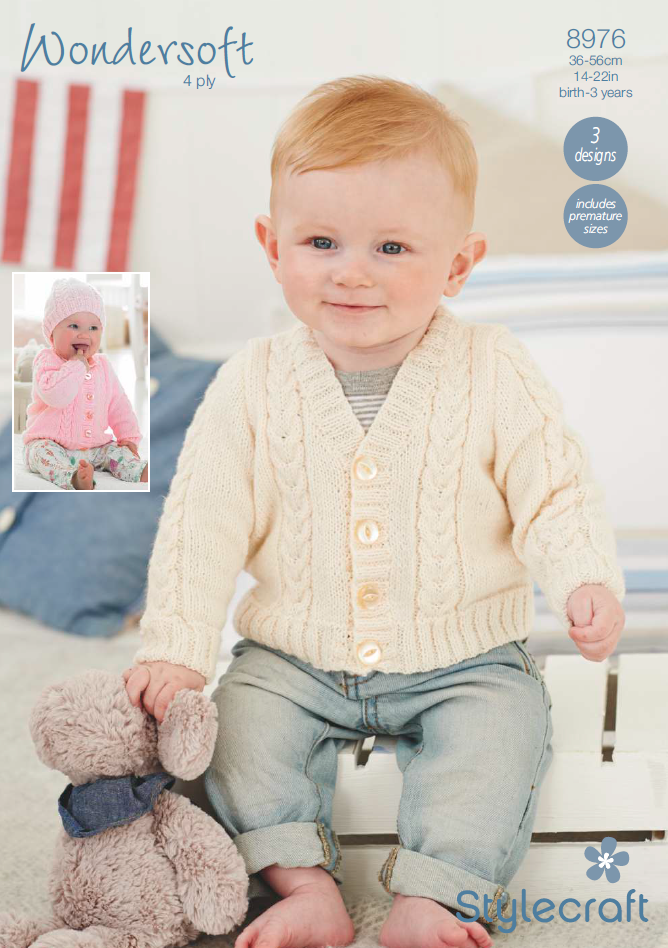 Stylecraft 8976 - Babies Cardigans & Hat in Wondersoft 4 Ply Pattern