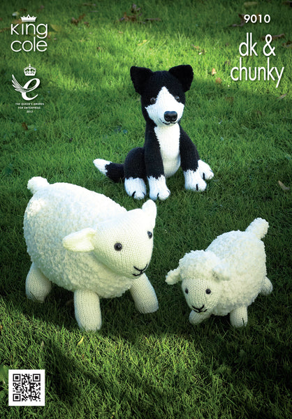 King Cole 9010 - Sheep, Lamb & Sheepdog in DK & Chunky Knitting Pattern - The Crafty Knitter