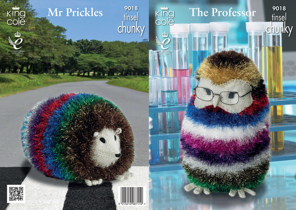 King Cole 9018 -  The Professor & Mr Prickles in Tinsel Chunky Yarn Pattern - The Crafty Knitter