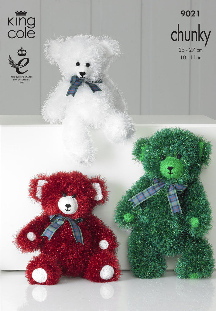 King Cole 9021 -  Teddies in Tinsel Chunky Yarn Pattern - The Crafty Knitter