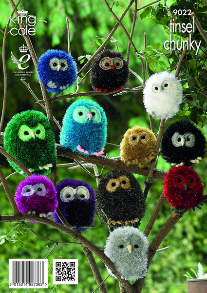 King Cole 9022 - Owls in Tinsel Chunky Yarn Pattern - The Crafty Knitter