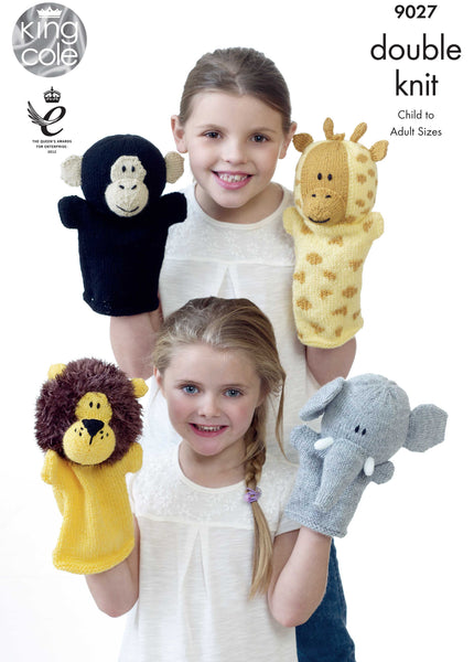 King Cole 9027 - Animal Hand Puppets in DK Yarn Pattern