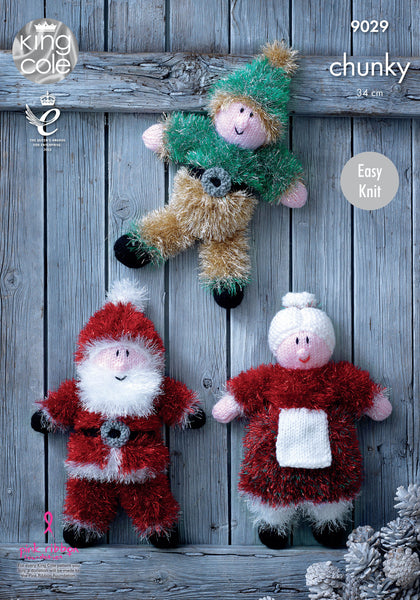 King Cole 9029 - Christmas Toys in Tinsel Chunky Yarn Pattern - The Crafty Knitter