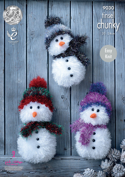 King Cole 9030 - Snowmen in Tinsel Chunky Yarn Pattern - The Crafty Knitter