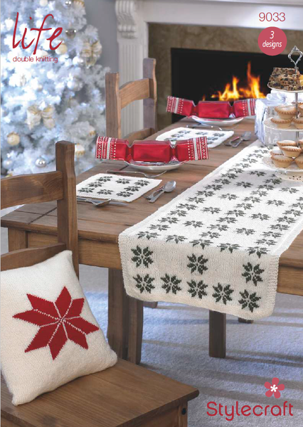 Stylecraft 9033 - Christmas Cushions, Table Mats & Table Runner in Life DK Pattern
