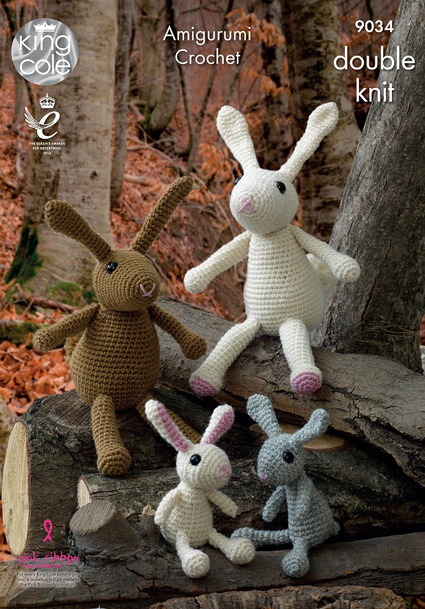 King Cole 9034 - Toy Rabbit Family in Merino DK Yarn Pattern