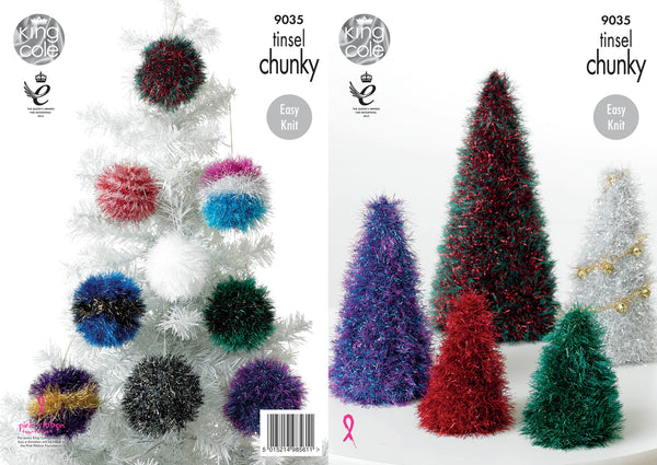 King Cole 9035 - Christmas Tree & Baubles in Tinsel Chunky Yarn Pattern - The Crafty Knitter