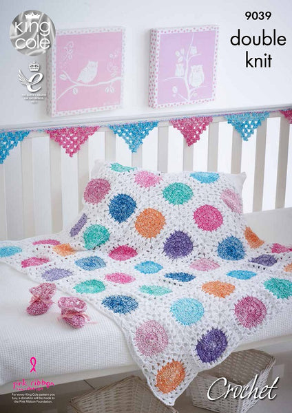 King Cole 9039 - Crochet Baby Accessories in DK & Cotton Yarn Pattern