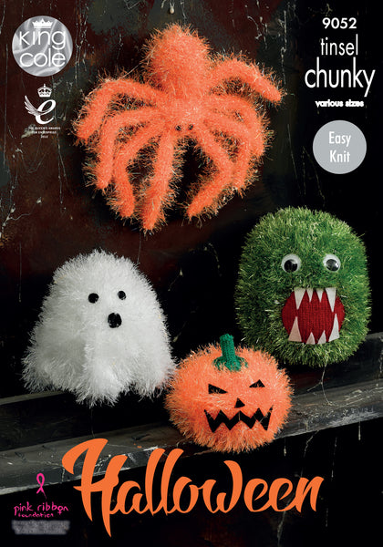 King Cole 9052 -  Halloween Monsters in Tinsel Chunky Yarn Pattern - The Crafty Knitter