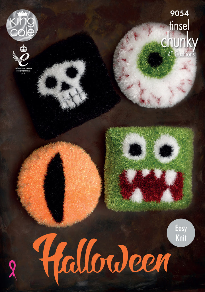 King Cole 9054 -  Halloween Cushions in Tinsel Chunky Yarn Pattern - The Crafty Knitter