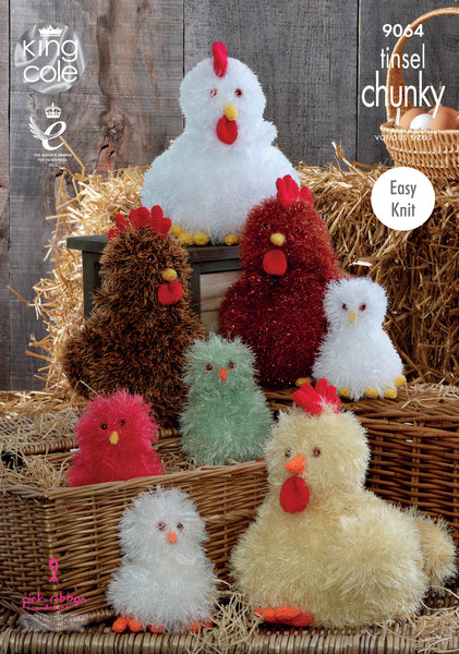 King Cole 9064 - Hens & Chicks in Tinsel Chunky Yarn Pattern - The Crafty Knitter Ltd - 1