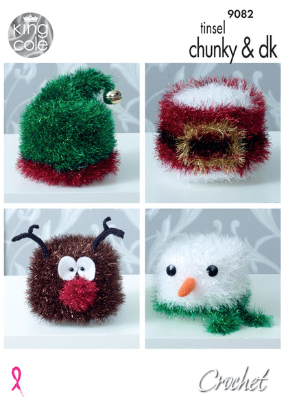 King Cole 9082 - Crochet Christmas Toilet Roll Covers in Tinsel Chunky & DK Yarn Pattern