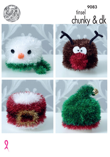 King Cole 9083 - Christmas Toilet Roll Covers in Tinsel Chunky & DK Yarn Pattern