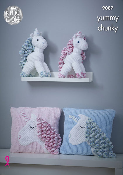 King Cole 9087 - Toy Unicorn & Cushion in Yummy Chunky Pattern