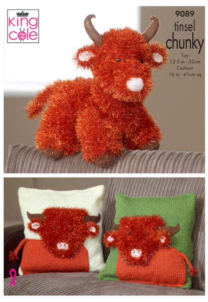 King Cole 9089 - Toy Highland Cow & Cushion Covers in Tinsel Chunky Yarn Pattern