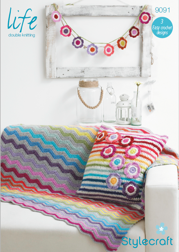 Stylecraft 9091 - Crochet Blanket, Cushion & Bunting in Life DK Knitting Pattern