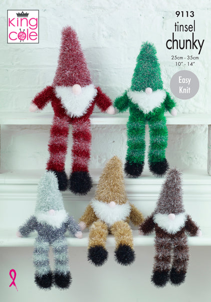 King Cole 9113 - Tinsel Gnomes in Tinsel Chunky Knitting Pattern