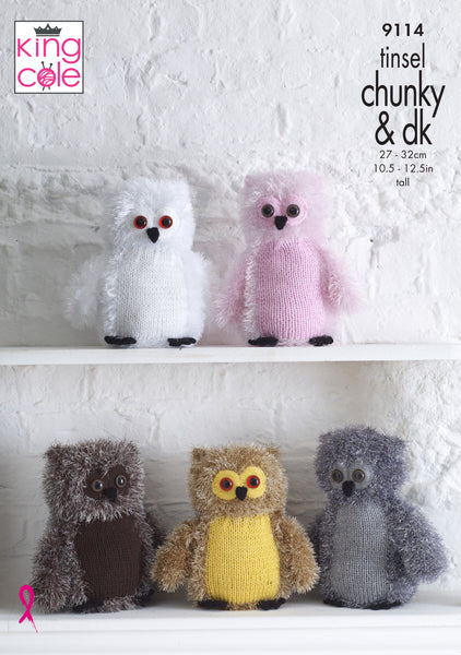 King Cole 9114 - Tinsel Owls in Tinsel Chunky & DK Knitting Pattern