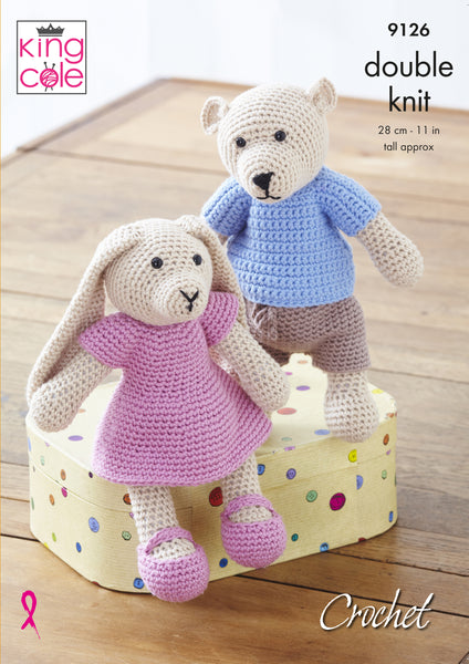 King Cole 9126 - Crochet Bear & Rabbit in DK Knitting Pattern