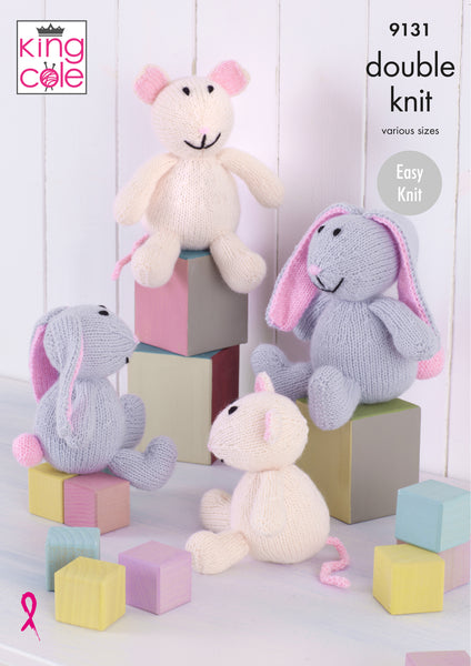 King Cole 9131 - Bunnies & Mice in DK Yarn Knitting Pattern