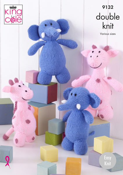 King Cole 9132 - Giraffes & Elephants in DK Yarn Knitting Pattern