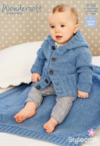 Stylecraft 9153 - Baby / Childrens Coat & Blanket in WonderSoft DK Pattern - The Crafty Knitter