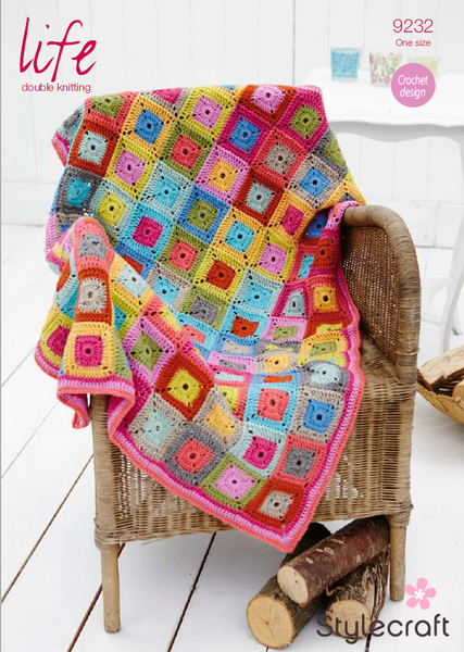 Stylecraft 9232 - Crochet Throw / Blanket in Life DK Pattern