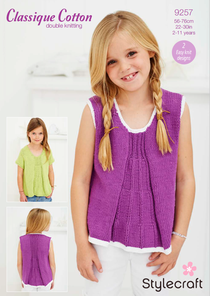 Stylecraft 9257 - Girls Tops in Classique Cotton DK Pattern