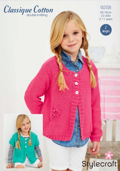 Stylecraft 9258 - Girls Cardigan in Classique Cotton DK Pattern