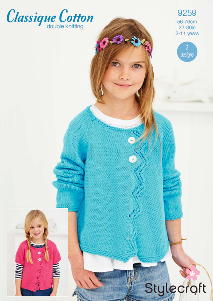 Stylecraft 9259 - Girls Cardigans in Classique Cotton DK Pattern