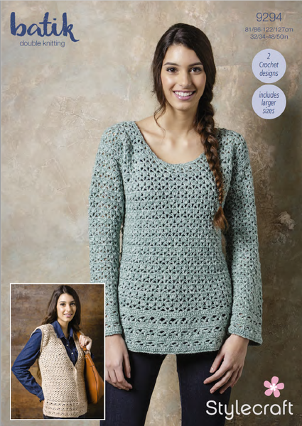 Stylecraft 9294 - Ladies Crochet Tunic & Waistcoat in Batik DK Pattern