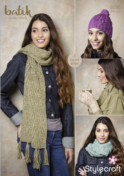 Stylecraft 9295 - Ladies Scarf, Hat, Snood & Mittens in Batik DK Pattern