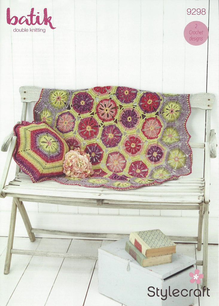 Stylecraft 9298 - Crochet Blanket & Cushion Cover in Batik DK Pattern - The Crafty Knitter