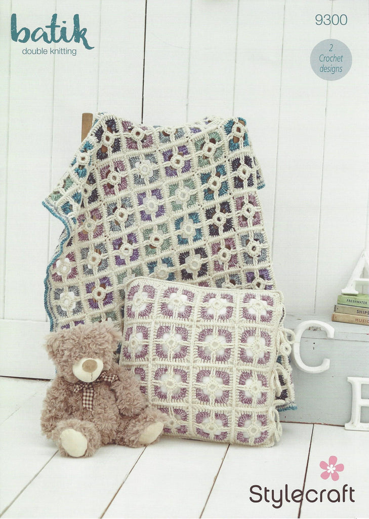 Stylecraft 9300 - Cot Coverlet & Cushion Cover in Batik DK Pattern - The Crafty Knitter