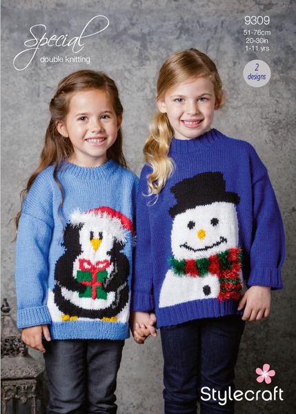 Stylecraft 9309 - Childrens Christmas Jumpers in Special DK Pattern