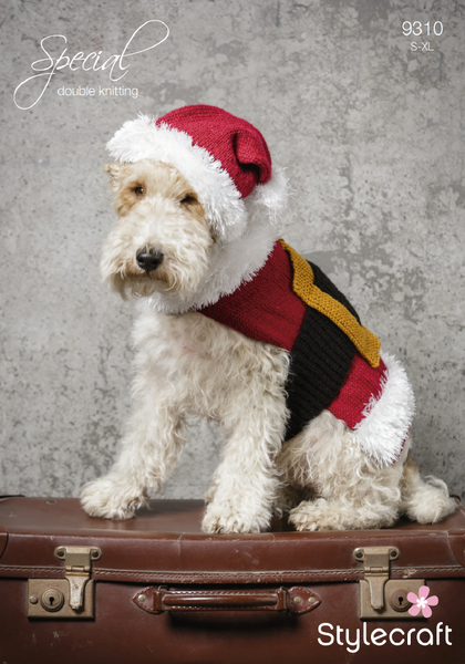 Stylecraft 9310 - Christmas Santa Dog Coat & Hat in Special DK Pattern