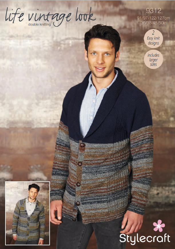 Stylecraft 9312 - Mens Cardigans in Life Vintage Look DK Pattern