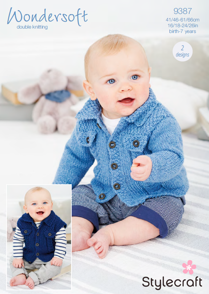 Stylecraft 9387 - Childrens Cardigan & Waistcoat in Wondersoft DK Pattern