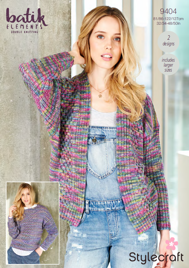 Stylecraft 9404 - Ladies Sweater & Cardigan in Batik Elements DK Pattern