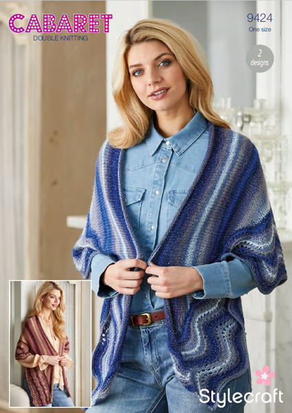 Stylecraft 9424 - Ladies Shawls in Cabaret DK Pattern