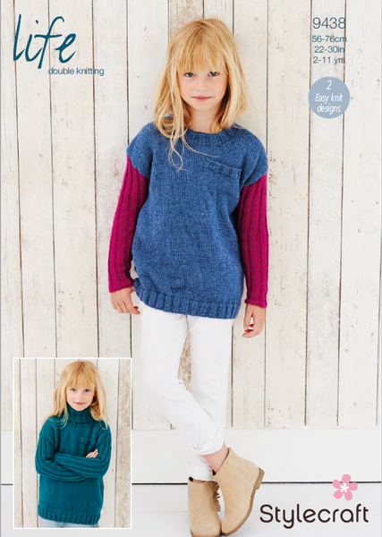 Stylecraft 9438 - Childrens Sweaters in Life DK Knitting Pattern