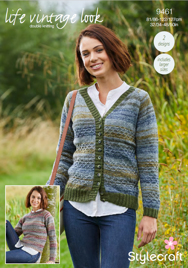 b2629f22ff06 Stylecraft 9461 - Ladies Sweater   Cardigan in Life Vintage Look DK Pa –  The Crafty Knitter