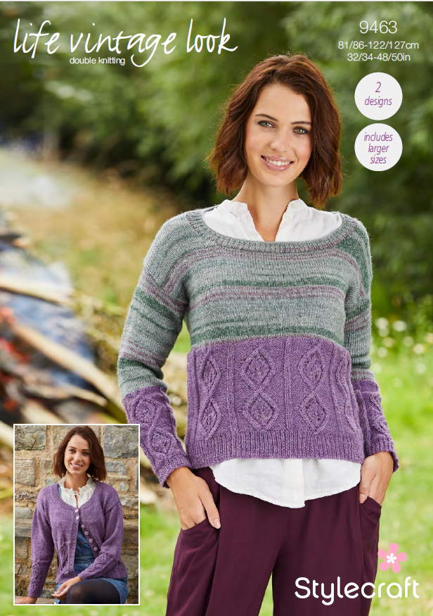 Stylecraft 9463 - Ladies Sweater & Cardigan in Life Vintage Look DK Pattern