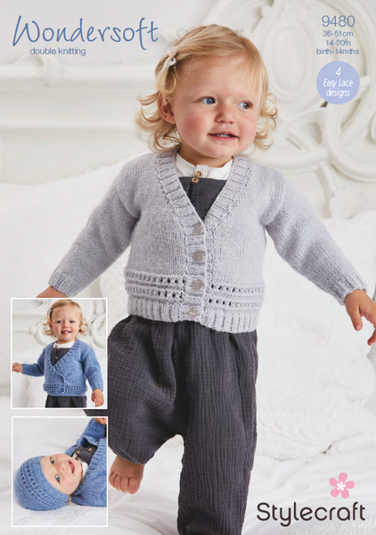 Stylecraft 9480 - Babies Cardigans, Hats & Mittens in Wondersoft DK Pattern