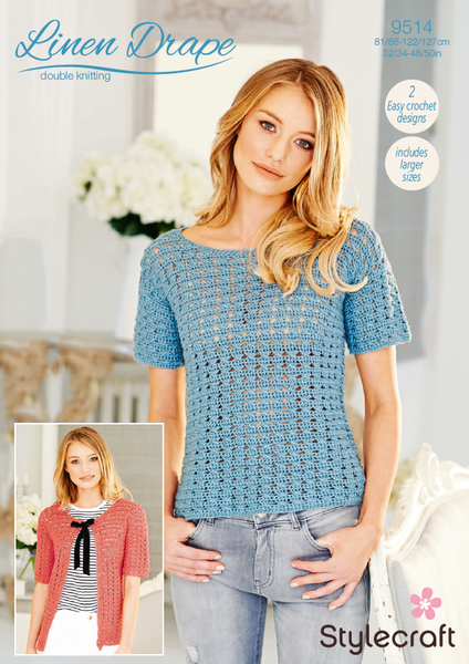 Stylecraft 9514 - Crochet Lace Top & Cardigan in Linen Drape DK Pattern